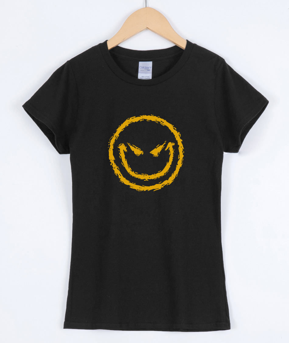 Evil Smiley Face, T-shirts for women 2019 summer hip hop rock fashion casual cotton female T-shirt brand clothing top tees shirt