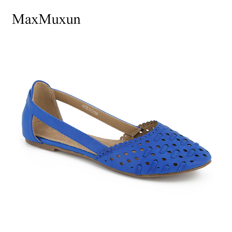 Maxmuxun Women Woven Flats Cut Out Closed Toe Ballets Flats Shoes Slip-on Casual Loafers Shoes White Ladies Falts Driving Shoes