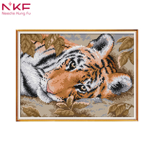 NKF New arrival A Lying Tiger Needlework DMC DIY Handmade 11CT 14CT Cross Stitch Sets For Embroidery kits Gift room decor