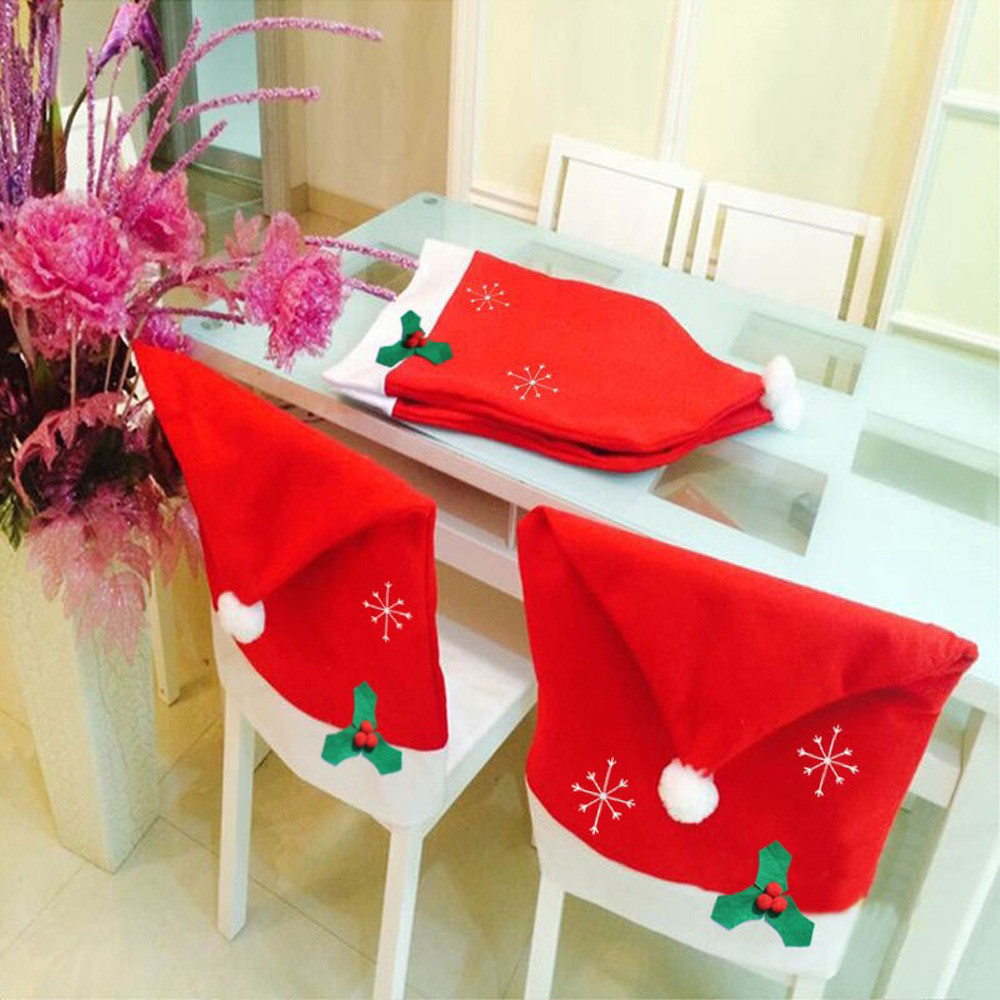 1pcs Santa Claus Cap Chair Cover Snowflake Christmas Dinner Table Party Red Hat Back Covers Xmas Decoration Drop Ship EY11