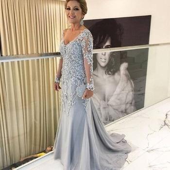 Illusion Long Sleeve Mother Of The Bride Lace Dresses For Wedding V-neck Mermaid Satin Appliques Dresses vestido de madrinha