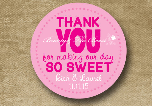 custom wedding thank you sticker labels cupcake toppersflower wedding tags candy