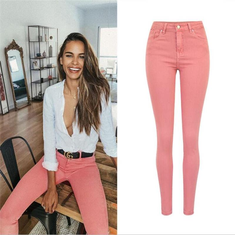 SupSindy Hot Women Jeans Fashion Pink Stretch Skinny Jeans Woman Hips Up High Waist Jeans For Women Pencil Pants Denim Trousers