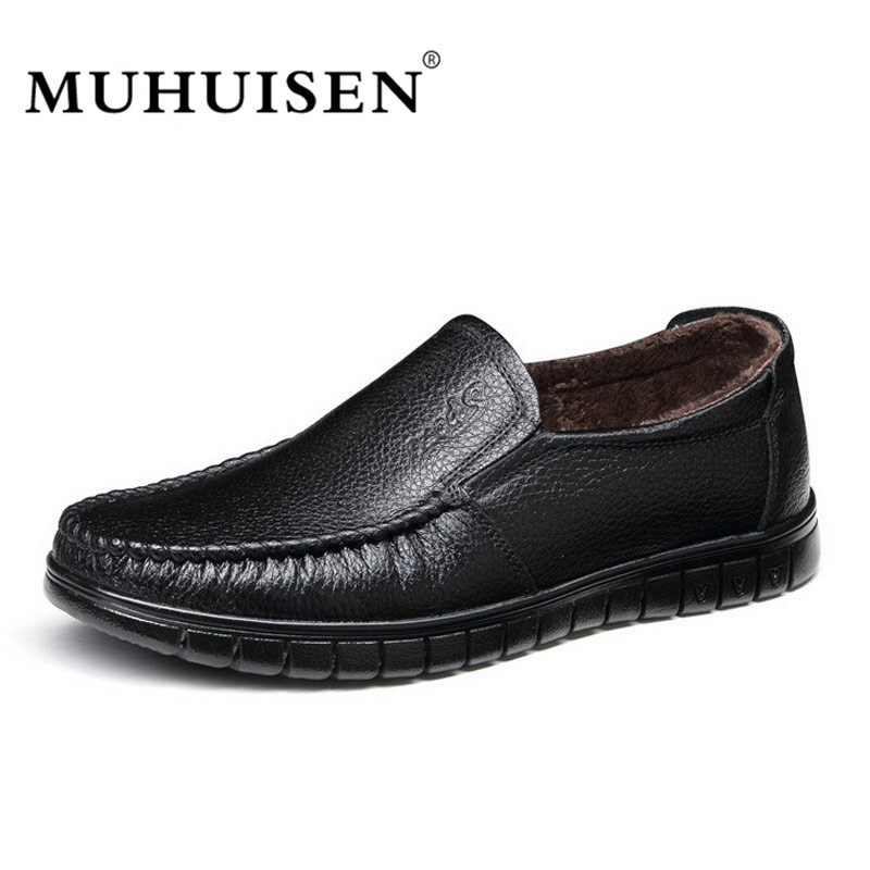 MUHUISEN Brand Winter Men Loafers Fashion Genuine Leather Warm Shoes Men Flats  Plush Slip on Casual Comfortable Shoes 2017 brand new spring men fashion loafers shoes slip on flats genuine leather shoes young men breathable casual shoes wa 32