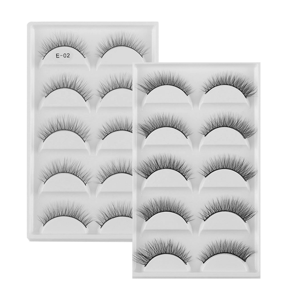 5 Pairs 3D Mink Hair False Eyelashes Super Natural Long Cross Fake Eyelash Charming Handmade Eye Lashes Makeup Extension Tools