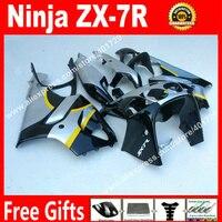 ABS plastic Fairings for 1996 2003 Kawasaki Ninja ZX7R 96 03 zx7r black silvery bodywork fairing body kit LI03