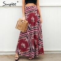 Simplee Geometric Print Long Skirt Women Summer Beach Tie Up Casual Maxi Skirt Female 2018 Spring