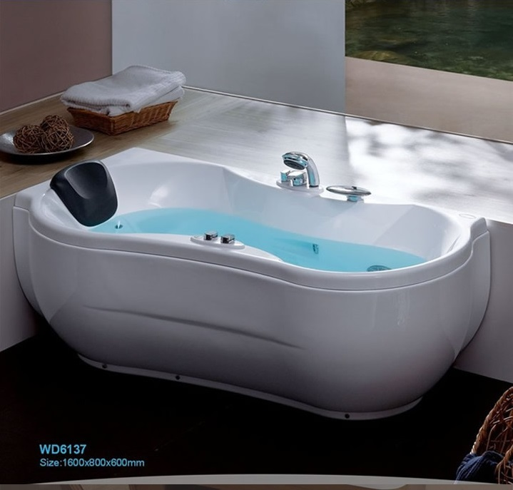 Triangle wall corner bathtub with soaking fiber glass free standing ...