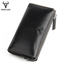 Mingclan Genuine Leather Men Clutch Wallets Multifunction Long Wallet Male Zipper Coin Purse Money Bags Card Holder