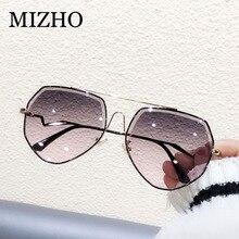 MIZHO Brown Luxury Brand Metal Sunglasses Women Pilot Fashion Rhinestone Cutting Gradient Grey Vintage Sun Glasses Ladies Trendy