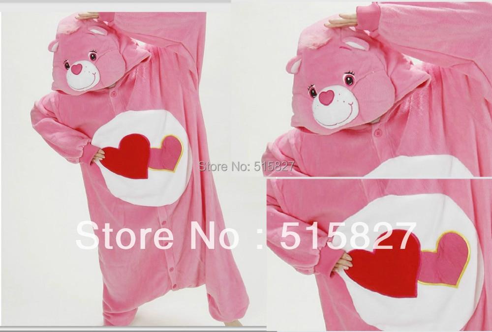 New Adult Women's Lady Cartoon Fleece pink love  bear Pyjamas Pajamas Sleepsuit sleepwear Onesie