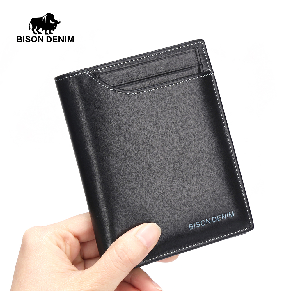 BISON DENIM Men's Wallet Business Card Holder Made Of Genuine Leather Clutch Male Coin Purse N4370-5B