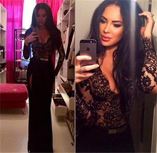 New Hot Sexy Lace Black Sheer Sash Long Sleeves Prom Gowns Deep V-neck Dress To Party High Side Split Mermaid