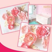 Handmade Cardstock Baby Pink Fleur DIY Paper Flowers Gold Leaves Set 4 Nursery Wall Deco Baby Shower Girls Room Video Tutorials