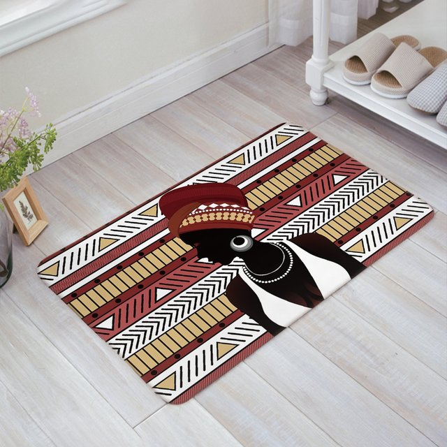 African Women with Bohemian Geometric Stripes Print Doormat ...