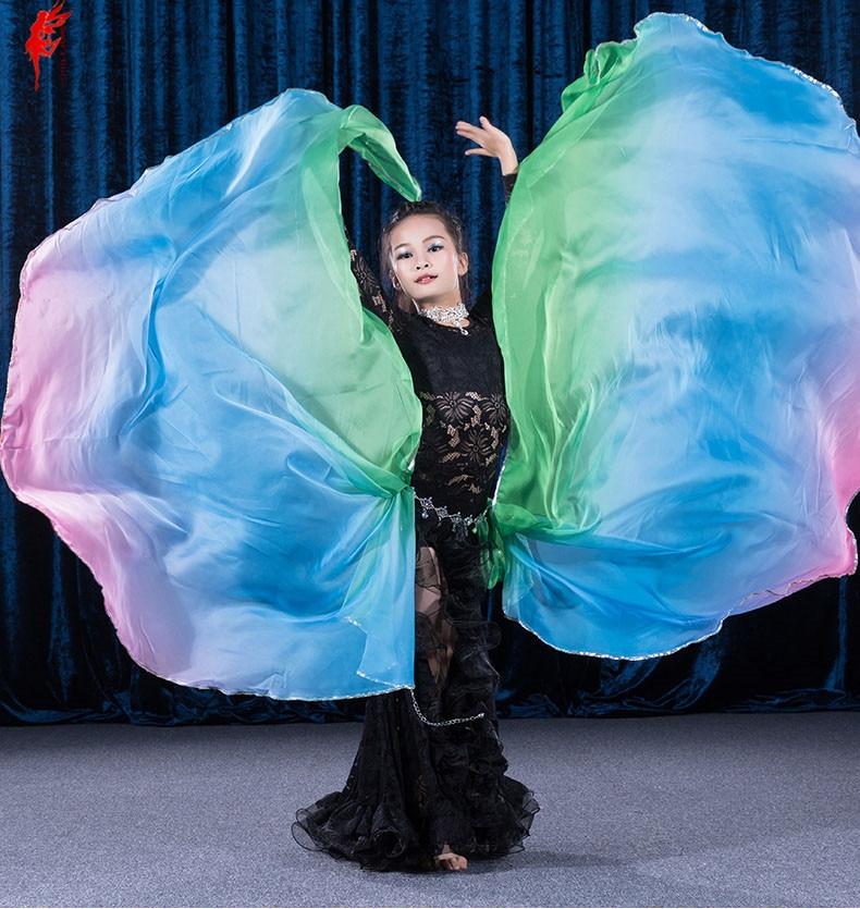 Kids Belly Dance Veil Rainbow Veil Girls 215*130 Cm 2pcs Belly Dance Veil Kids Silk Imitation Veil Girls Belly Dance Accessories