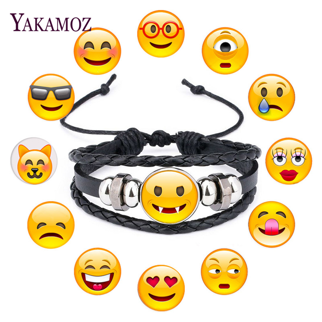 New Arrival Emoji Face Expression Glass Cabochon Black Leather Bracelet 2018 Fashion Bangle For Women And Men Jewelry Gift