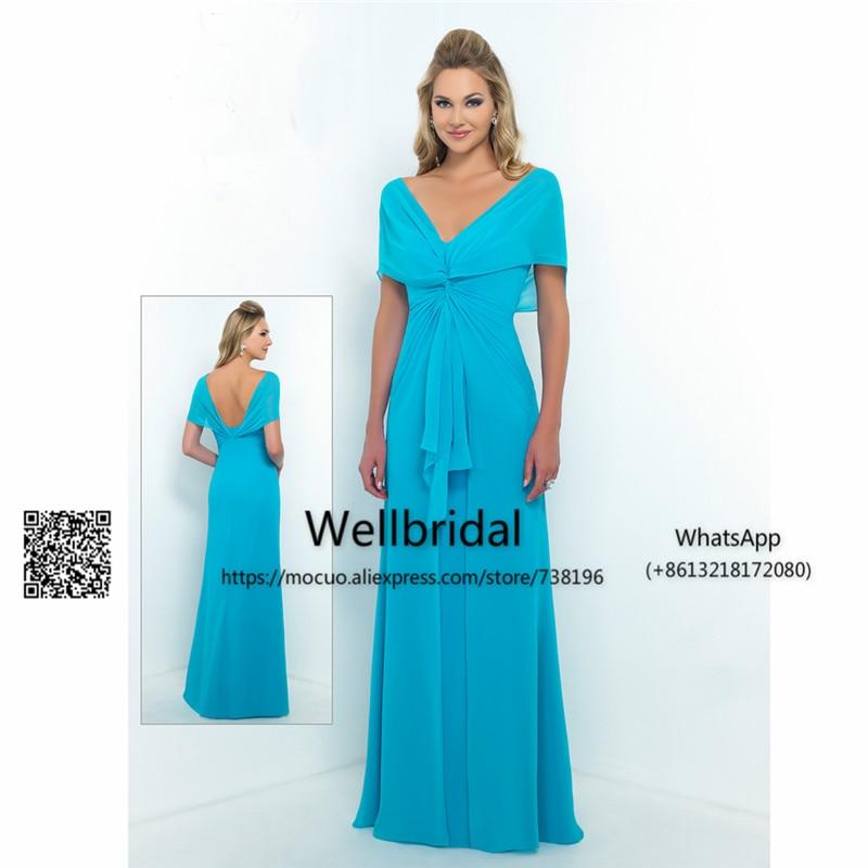 Popular New Bridesmaid Dress Long Cap Sleeves Wedding Party Dress V-Neck Backless Chiffon Prom Bridesmaid Dresses