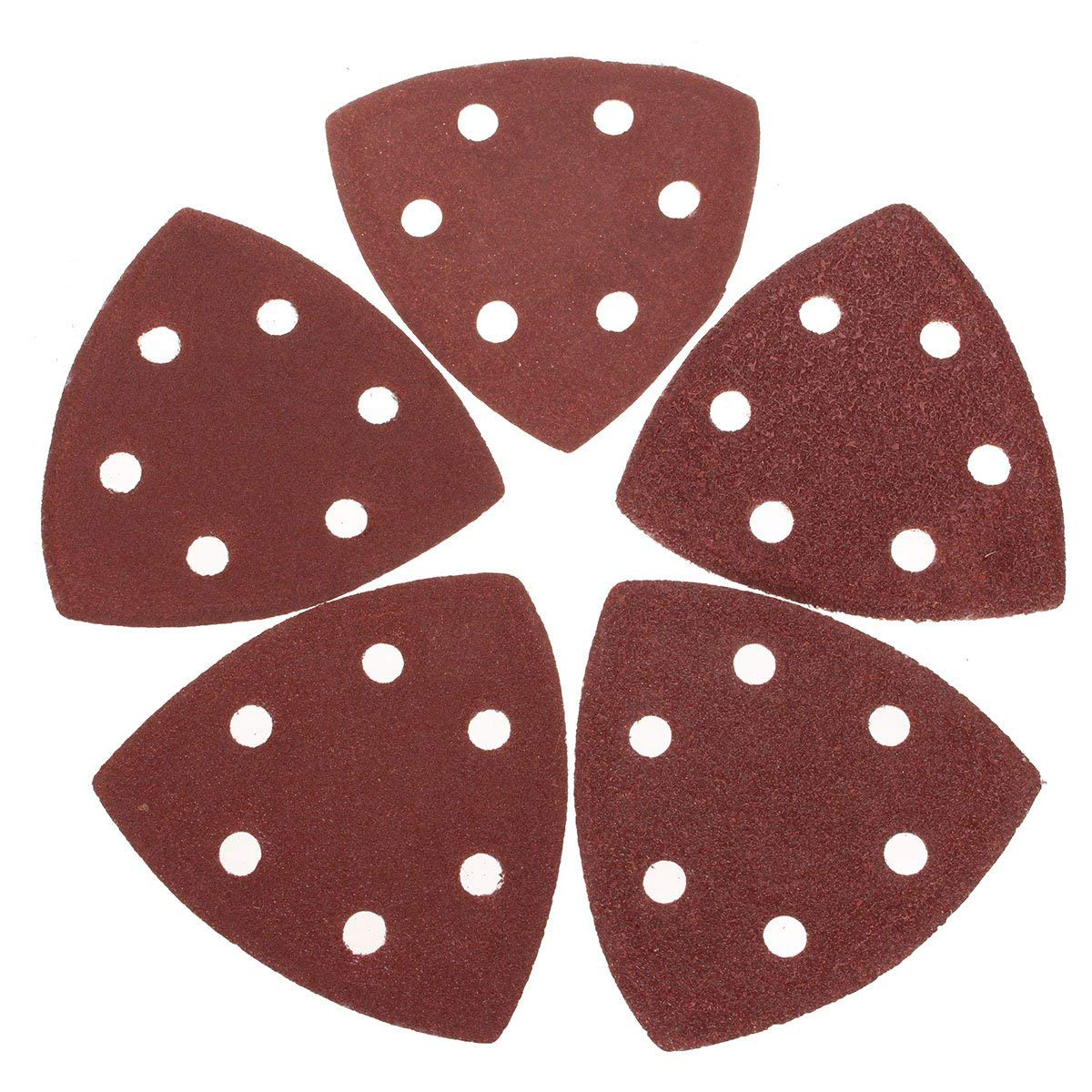 20x Buckle Delta Sand Paper Pads 90mm Triangular 40, 60, 80, 100 And 120 Grit Hook Loop Sanding Disc Sheets Woodworking Tools