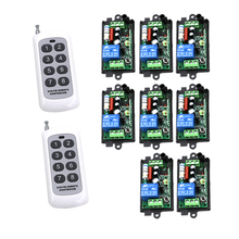 8CH AC 220V rf home automation remote control switch 433MHZ 2 transmitter and 8 recevier wireless Radio smart control SKU: 5457