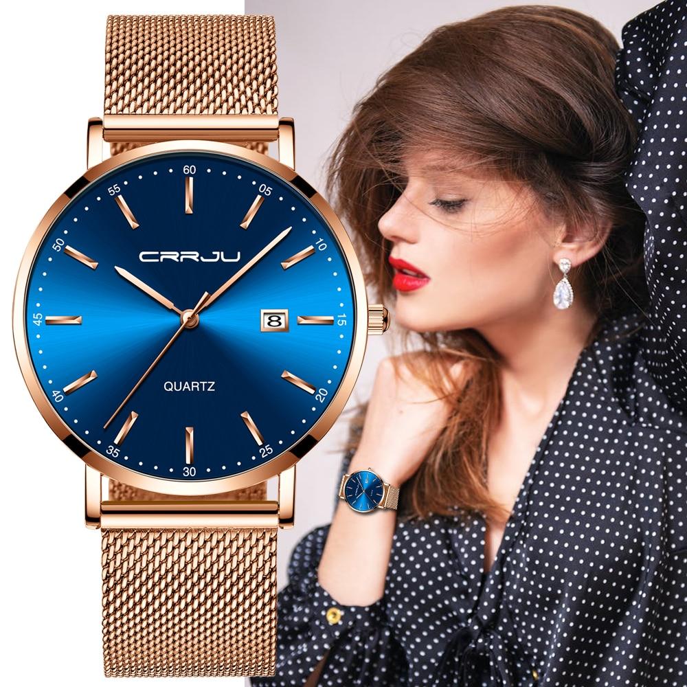 CRRJU Women Watches Top Brand Luxury Ladies Mesh Belt Ultra-thin Watch Stainless Steel Waterproof Clock Quartz Watch Reloj Mujer