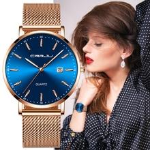CRRJU relojes de lujo para Mujer, correa de malla, ultrafino, de acero inoxidable, resistente al agua, de cuarzo, femenino