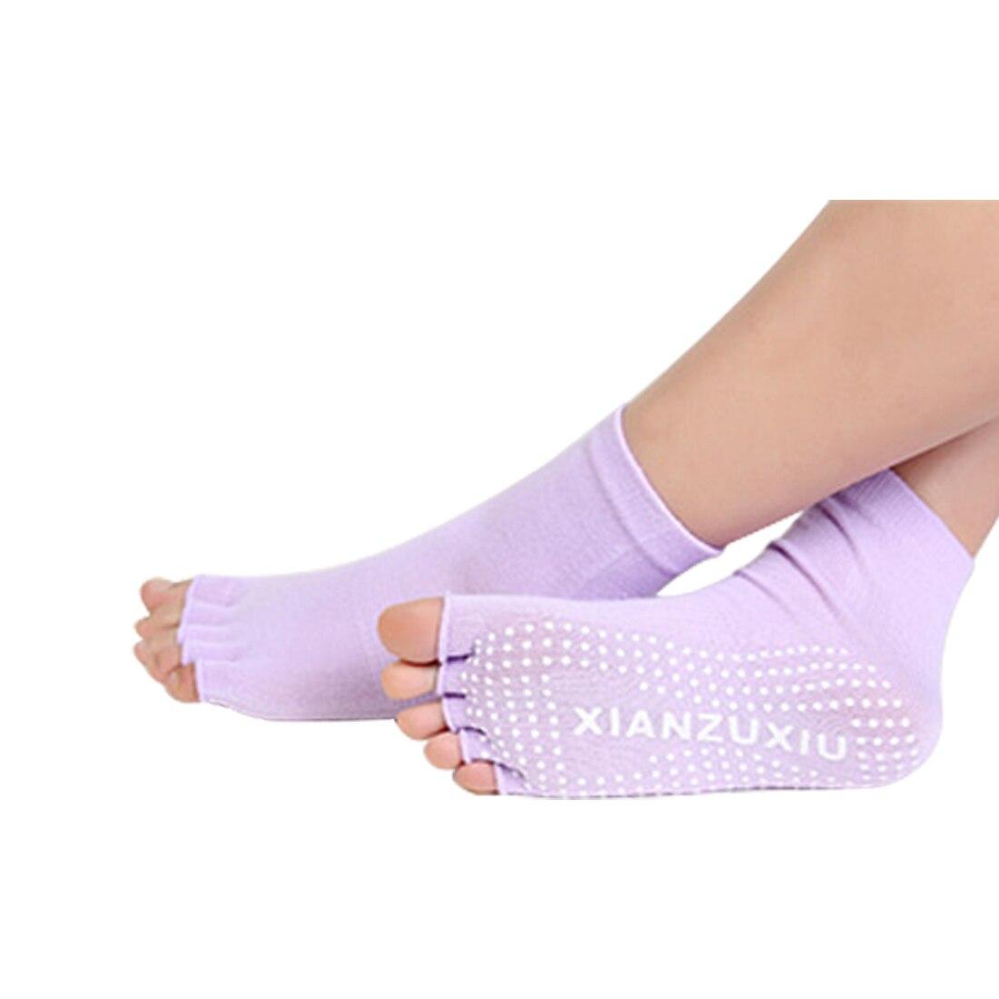 New Half Five Fingers Cotton Half Toe Yoga Sock Non-Slip Peep Toe Anti-Slip Pilates Ankle Grip Durable Open Yoga toe socks