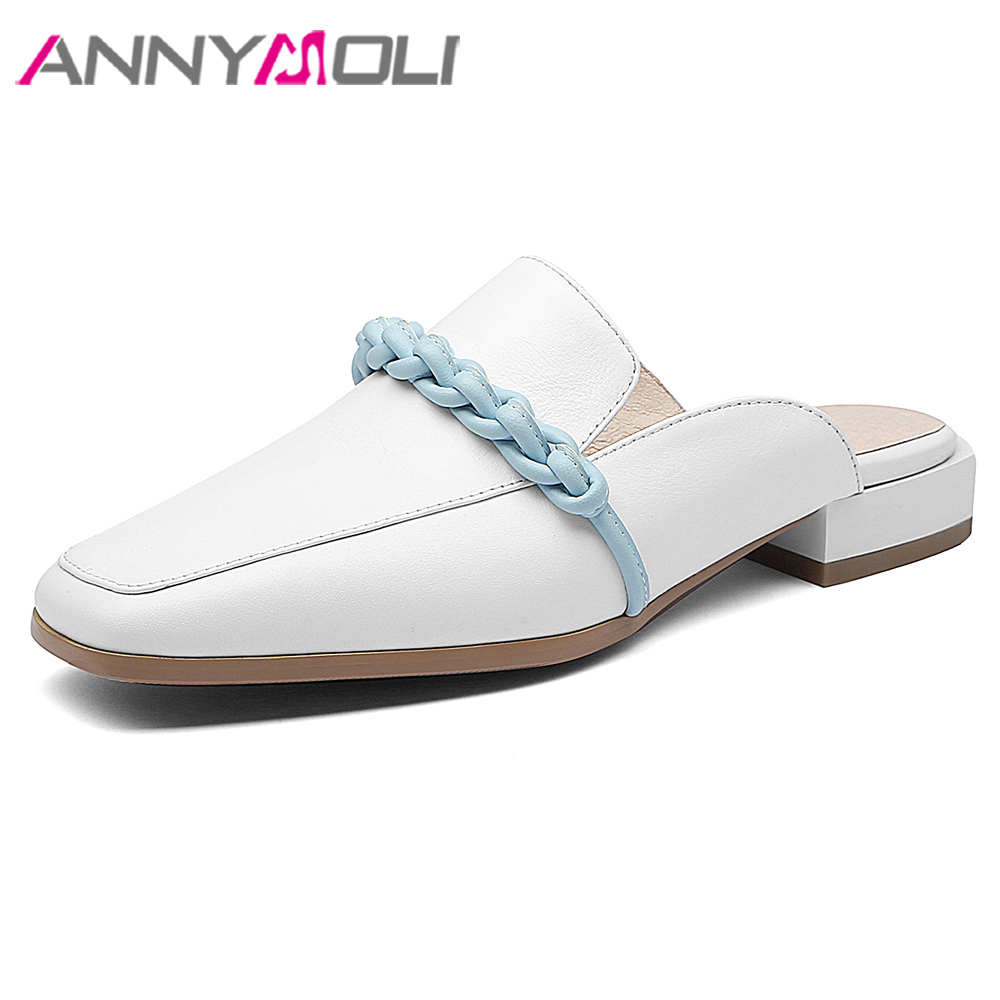 ANNYMOLI Women Shoes Summer Sandals Cow Leather Flat Mules Square Toe Slides Spring Ladies Comfortable Casual Shoes 2019 34-39ANNYMOLI Women Shoes Summer Sandals Cow Leather Flat Mules Square Toe Slides Spring Ladies Comfortable Casual Shoes 2019 34-39
