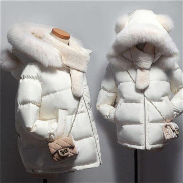 1419908a2733 MQUEENFOX 2018 nuevo cuello grande con capucha chaqueta de invierno para  mujer Park Slim Short Mujer