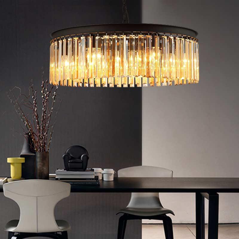 E27 país americano Retro Vintage ámbar cristal lámpara colgante ...