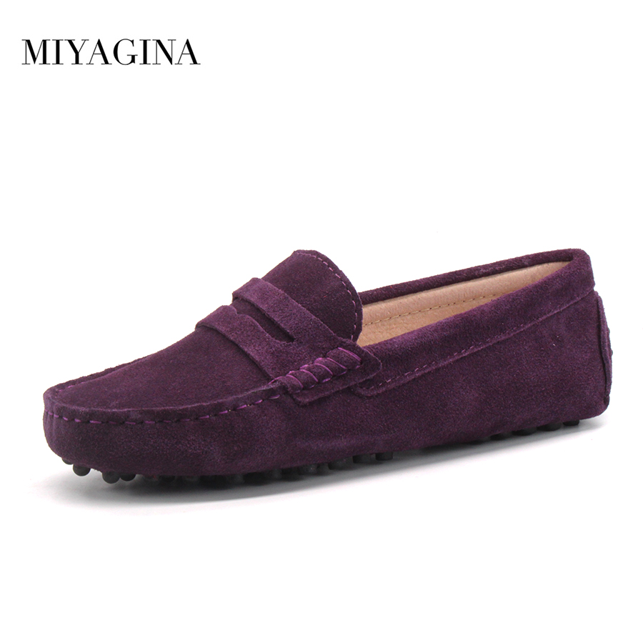 MIYAGINA Shoes Women 100% Genuine Leather Flat Shoes Casual Loafers Slip On Women's Flats Shoes Moccasins Lady Driving Shoes цена и фото