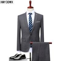 2017 Men Business Suit Slim Fit Classic Male Blazers Dress Wedding Suit Single Buttons 2 Pieces