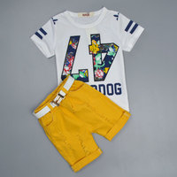 2017 New Summer Baby Boys Clothing Sets Kids Clothing Letter Print T Shirt Light Orange Pants