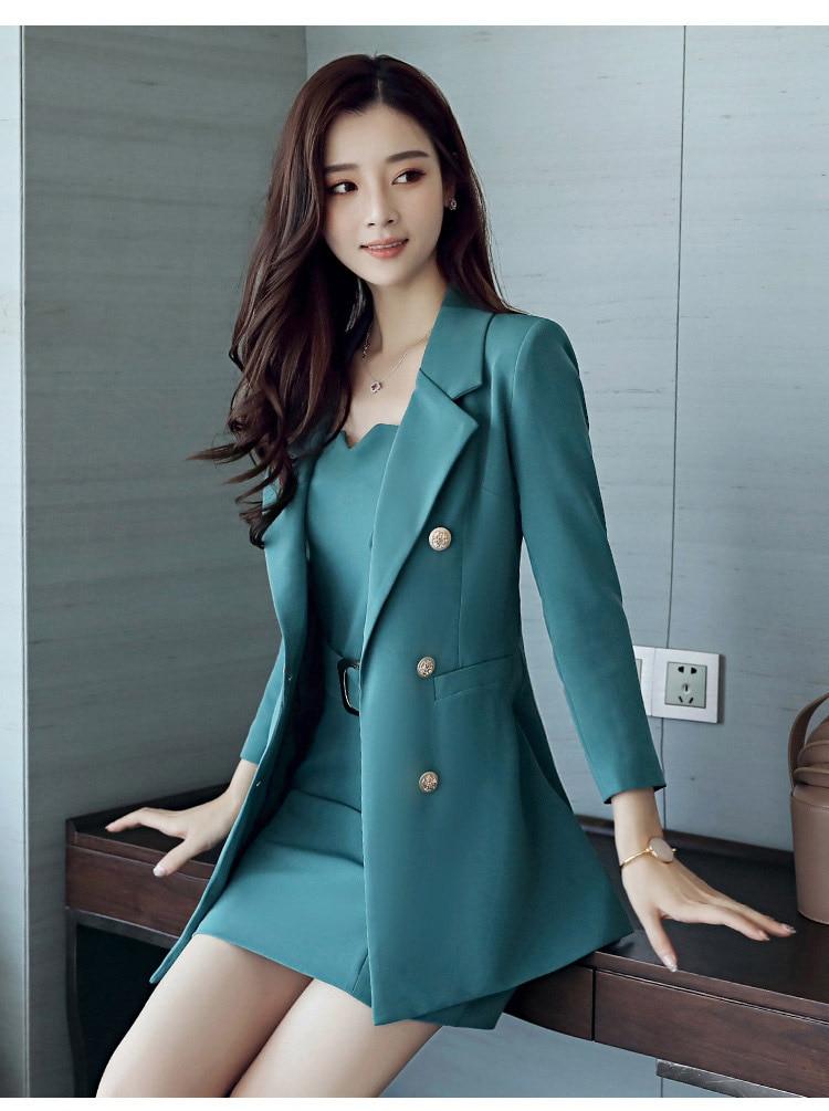 Autumn Business Suit Elegant Office Dress Lady Work 2 Pieces Set Long Sleeve Blazer and Sleeveless Dress Suit Set 26