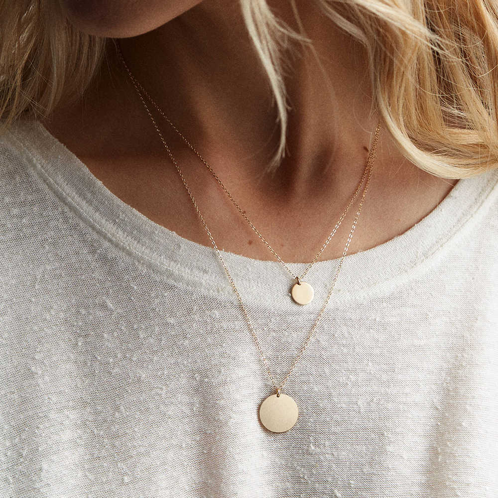 E-מנקו זהב צבע שרשרת שרשרת לנשים זוגי שכבות נירוסטה קולר שרשרת עגול מטבע תליוני שרשרת