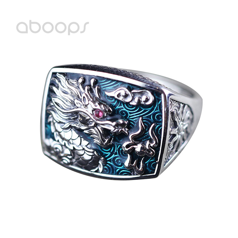 Ethnic 925 Sterling Silver Blue Enamel Dragon Hollow Ring for Men Women Adjustable Free Shipping chic ethnic paisley pattern dark blue voile scarf for women