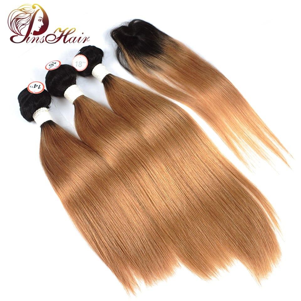 1B 30 Blonde Bundles With Closure Ombre Brazilian Straight Human Hair Weave 3 Bundles With Closure