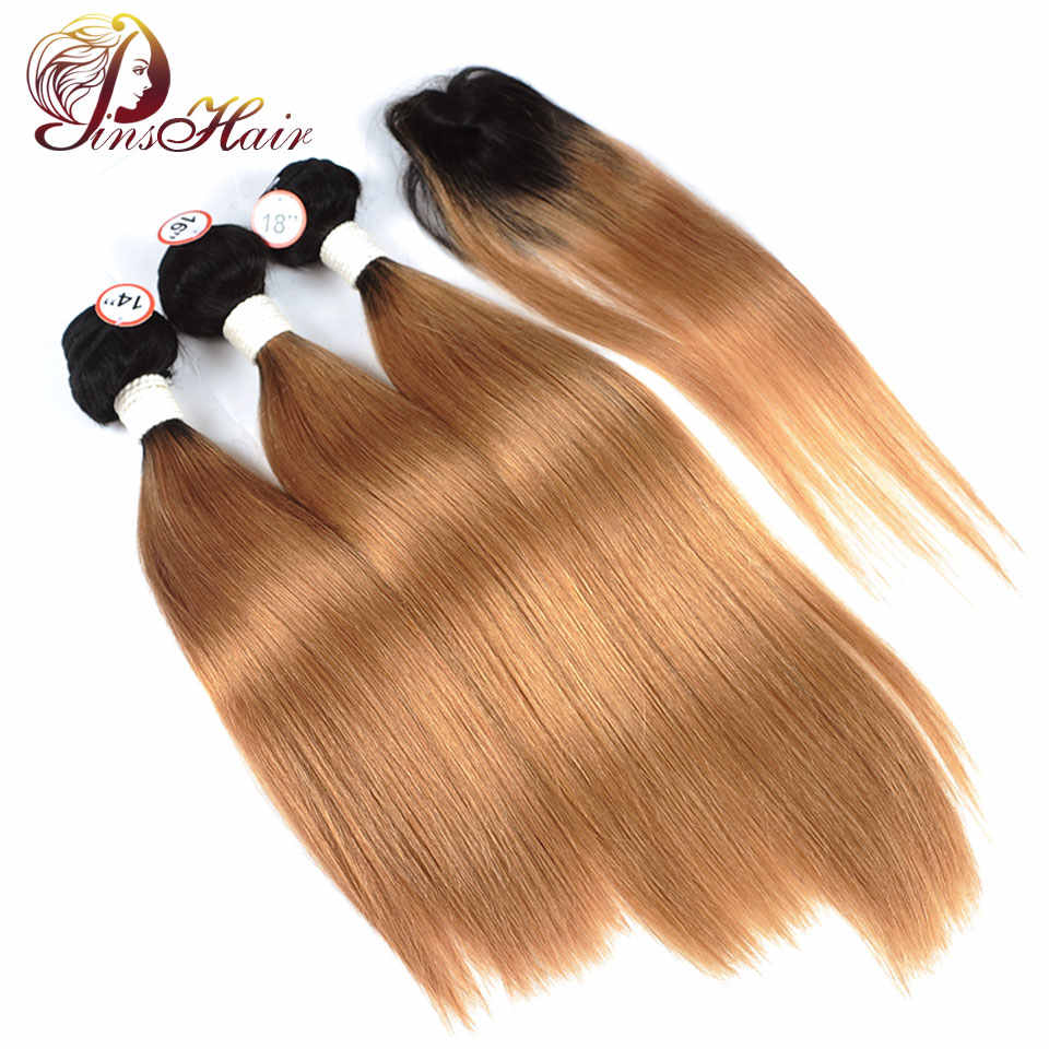 1B 30 Blonde Bundles With Closure Ombre Brazilian Straight Human Hair Weave 3 Bundles With Closure Pinshair Nonremy Thick Bundle