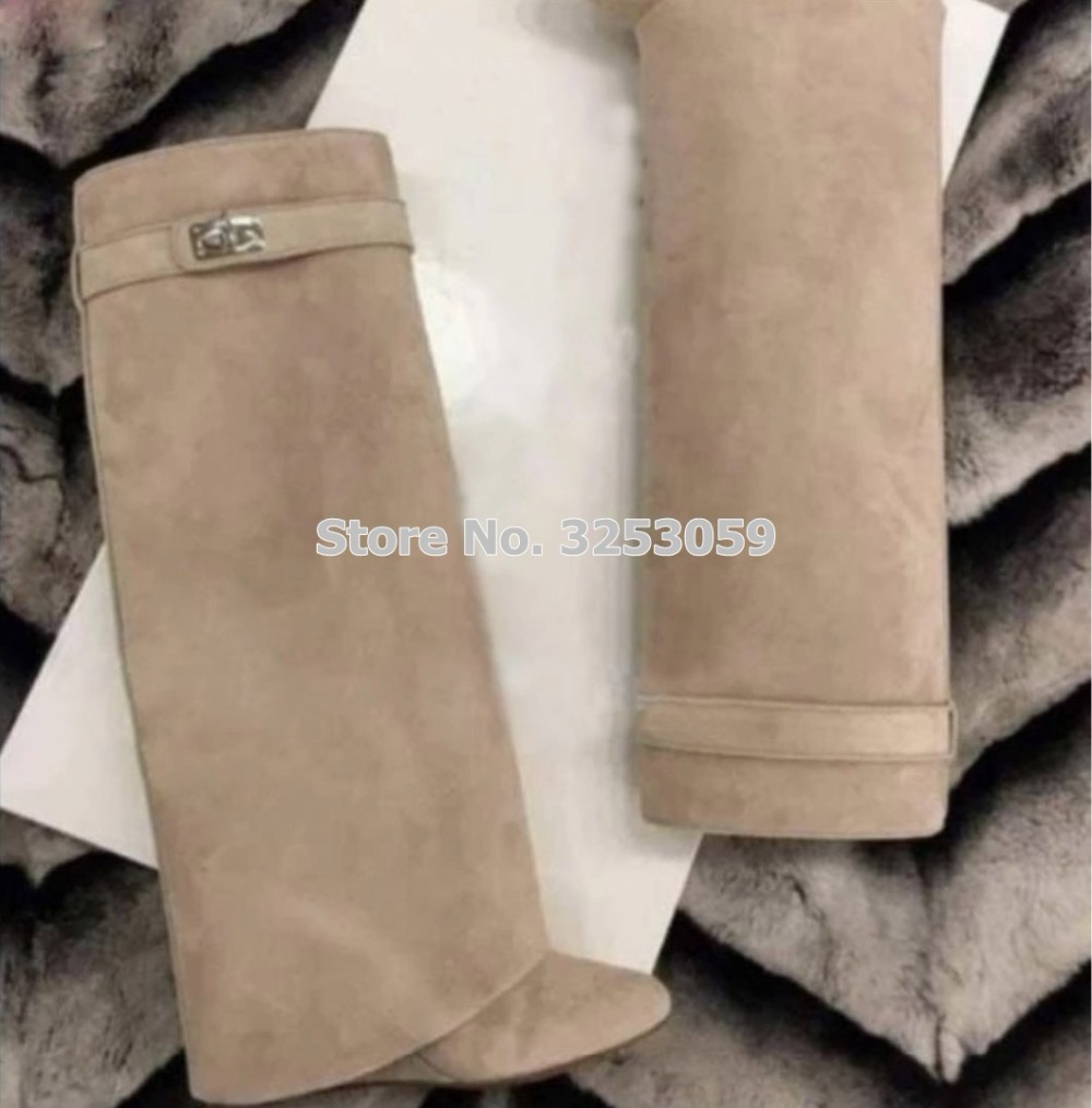 ALMUDENA Top Brand New Color Nude Suede Shark Lock Knee High Tall Boots Wedge Heels Folded Metal Decoration Long Boots Dropship image