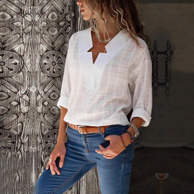 Women's Clothing White Blouses Tops Women Autumn V-neck Shirts Long Sleeve Cotton Plaid Blouses As Effectively As A Fairy Does