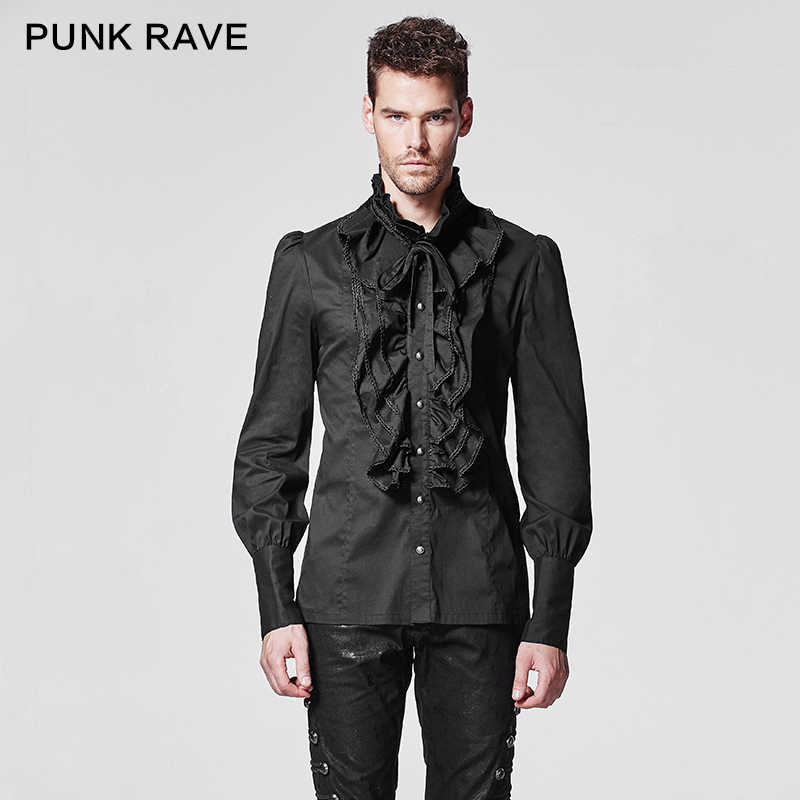 b95bbe048cc1 PUNK RAVE Gothic Ruffles Turn-down Collar Man Shirt Single Breasted Dark  Grain Horn Long