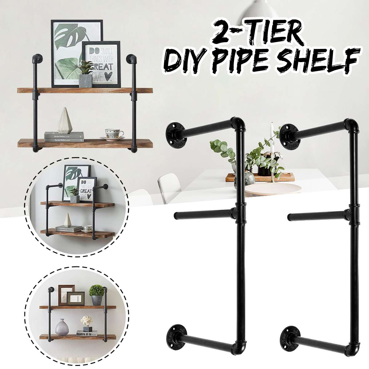 2 PCS 2 Tier Shelf Wall Shelf Bracket Hanging Storage Shelves Iron Pipe Black DIY Pipe Shelves Furniture Home2 PCS 2 Tier Shelf Wall Shelf Bracket Hanging Storage Shelves Iron Pipe Black DIY Pipe Shelves Furniture Home