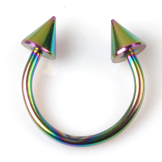 Cone Spike Horseshoe Circular Ring 5 pcs Surgical Steel Labret Nipple Hoops Nose Septum Eyebrow Piercing Body Jewelry 8mm 10mm 3