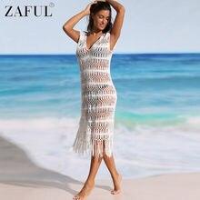 c4ab6275f6 ZAFUL Women Sexy Bikini Cover Up Swimsuit Crochet Fringe Cover Up Bathing  Suit Summer Beach Dress Robe De Plage Sexy Beachwear
