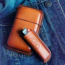 Retro Leather Cowhide Cigarette Case Lighter Sets Handmade 10 Sticks Cigarette B
