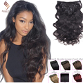 7A Grade Clip in Human Hair Extensions Top Quality Brazilian virgin hair Wave Clip In Human Hair Extensions Princ Queen