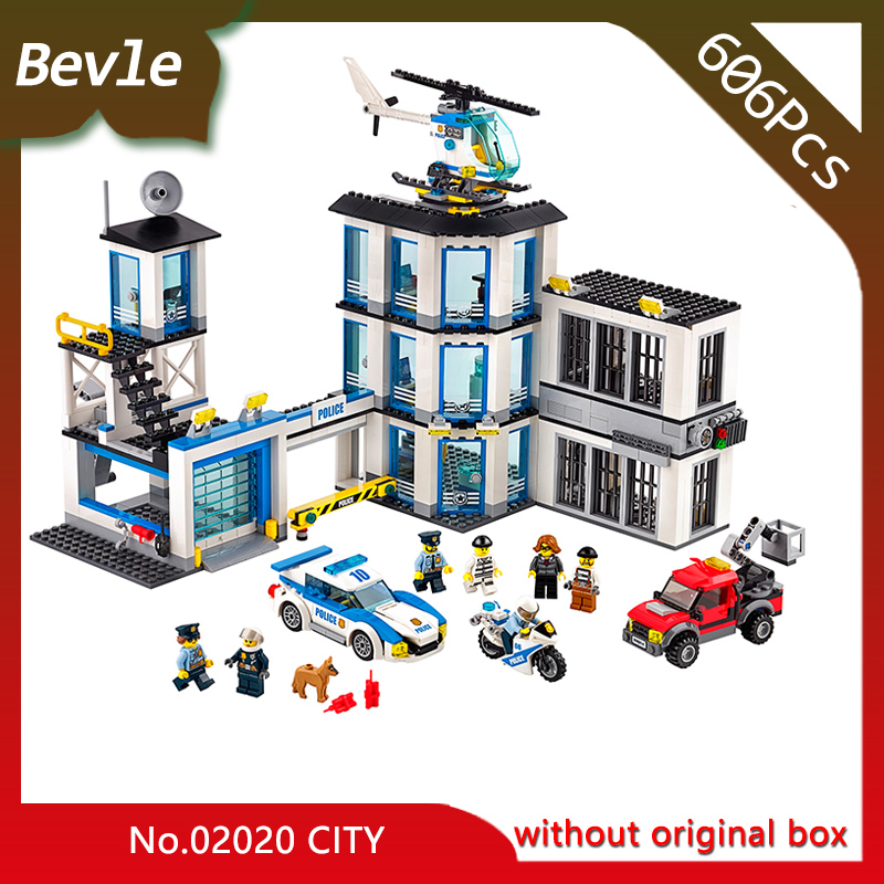 Bevle Store LEPIN 02020 606Pcs CITY Series New Police Station Model Building Blocks set Bricks Children For Toys Gift 60141 lepin 02012 city deepwater exploration vessel 60095 building blocks policeman toys children compatible with lego gift kid sets