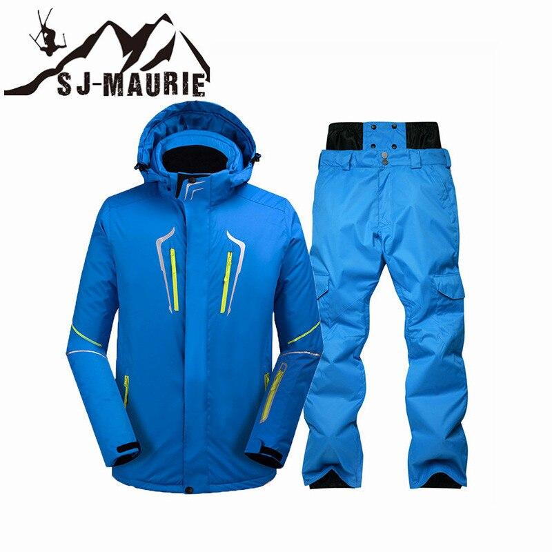 High Quality Thicken Warm Ski Suit Men Winter Windproof Waterproof Skiing Snowboard Jackets +  Pants Suit Male