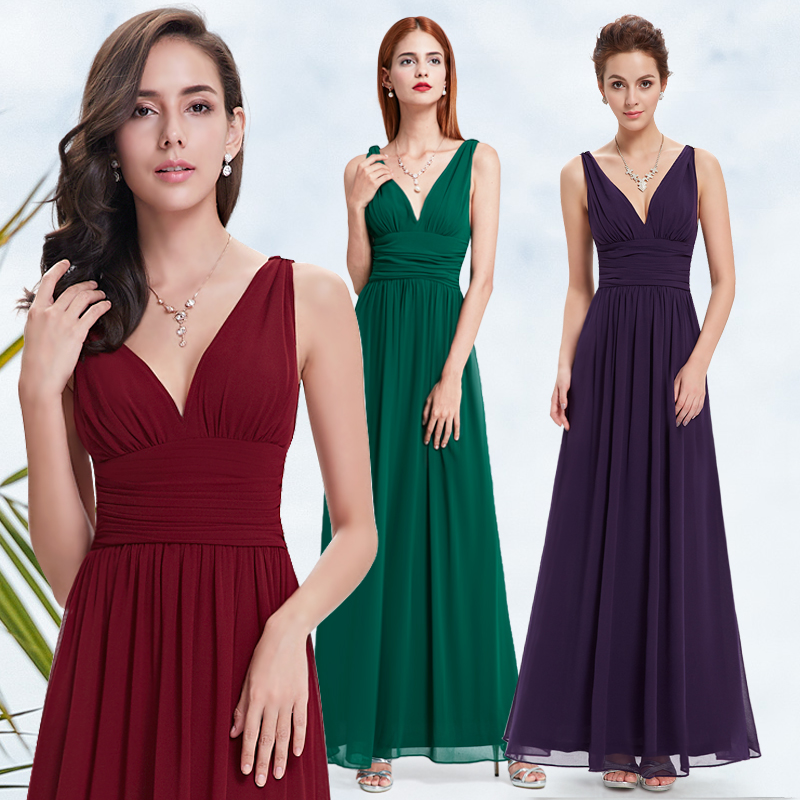 Burgundy   Prom     Dresses   New Arrival Empire Ever Pretty Special Occasion   Dresses   Elegant V Neck Long Chiffon Formal Party Gown 2018