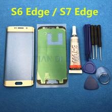 Reemplazo de la cubierta de lente de cristal exterior delantera para Samsung Galaxy S6 Edge G925 G925F S7 Edge G935 G935F LCD vidrio y pegamento de B 7000 y herramienta